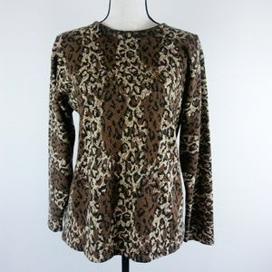 Leopard Print Sweater Subtle Metallic Thread Soft